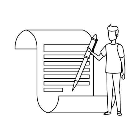 paper document with business person and pen vector illustration design