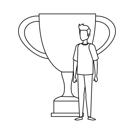 trophy cup award with businessman vector illustration design