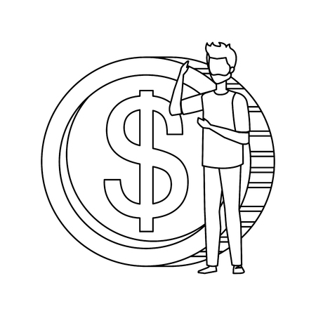 coin money with business person vector illustration design