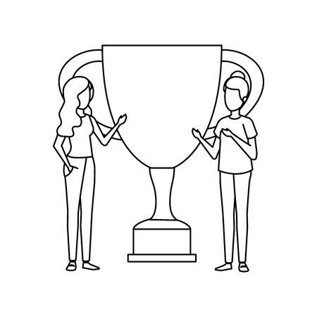 trophy cup award with business girls vector illustration design Stockfoto - 126173110
