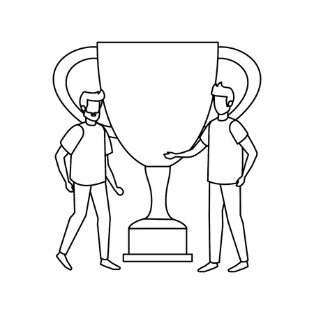 trophy cup award with businessmen vector illustration design Stockfoto - 126173116