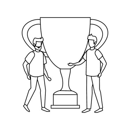 trophy cup award with businessmen vector illustration design 스톡 콘텐츠 - 126173116
