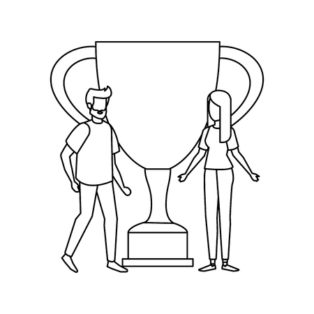 trophy cup award with couple vector illustration design Stockfoto - 126173126