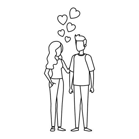 lovers couple with hearts floating vector illustration design Ilustración de vector