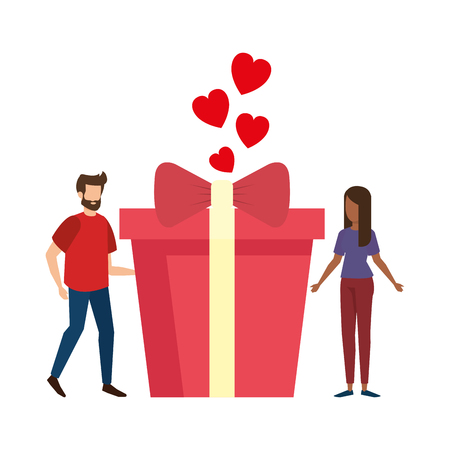 lovers couple with hearts floating and gift vector illustration design Stock Illustratie