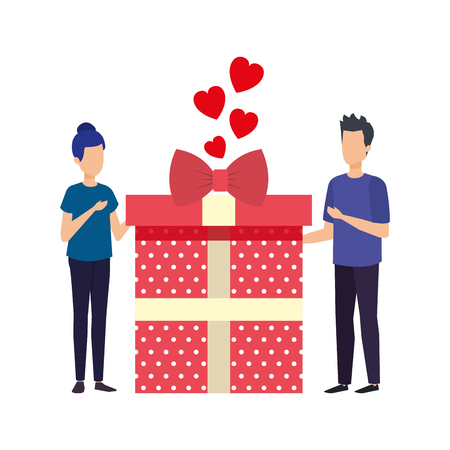 lovers couple with hearts floating and gift vector illustration design Ilustração
