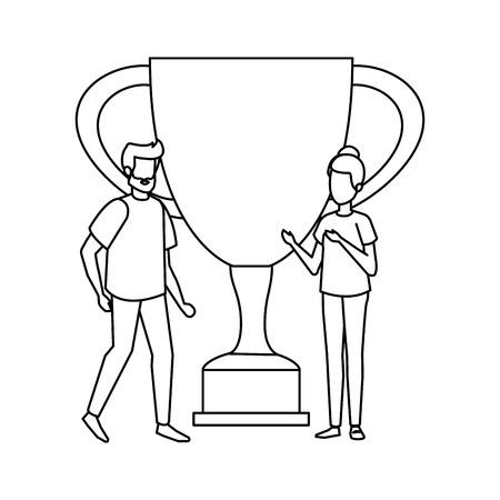 Trophée de la coupe avec la conception d'illustration vectorielle couple Vecteurs