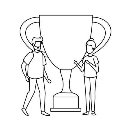 trophy cup award with couple vector illustration design