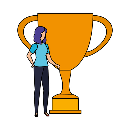 trophy cup award with businesswoman vector illustration design 일러스트