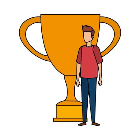 trophy cup award with businessman vector illustration design