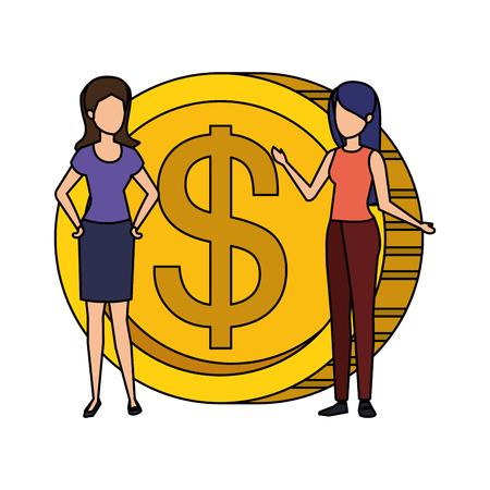 coin money with business person vector illustration design Vektoros illusztráció