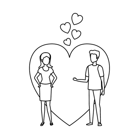 lovers couple with hearts floating vector illustration design