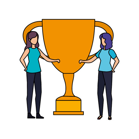 trophy cup award with business girls vector illustration design
