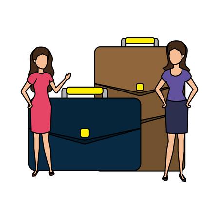 portfolio briefcase with business person vector illustration design