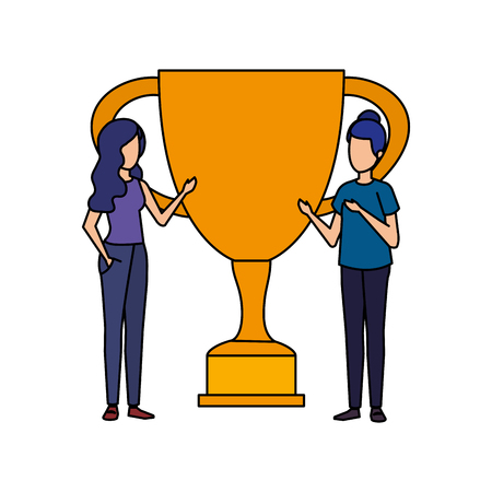 trophy cup award with business girls vector illustration design Stockfoto - 126173196