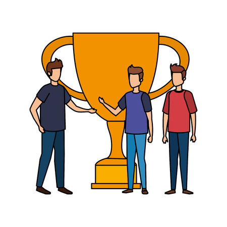 trophy cup award with businessmen vector illustration design Stockfoto - 126173213