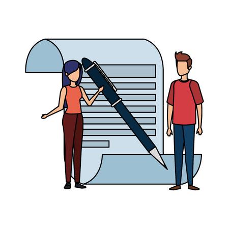 Documento en papel con persona de negocios y bolígrafo, diseño de ilustraciones vectoriales