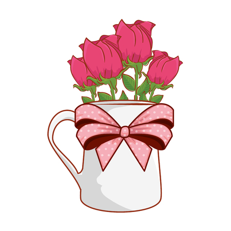coffee cup with heart and roses flowers vector illustration design Vettoriali