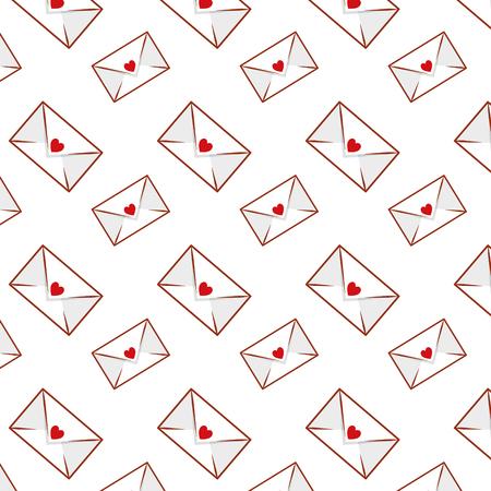 envelopes with hearts pattern vector illustration design