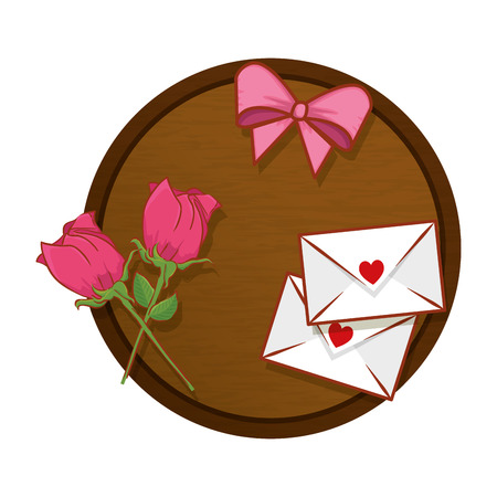 table with envelopes and roses vector illustration design