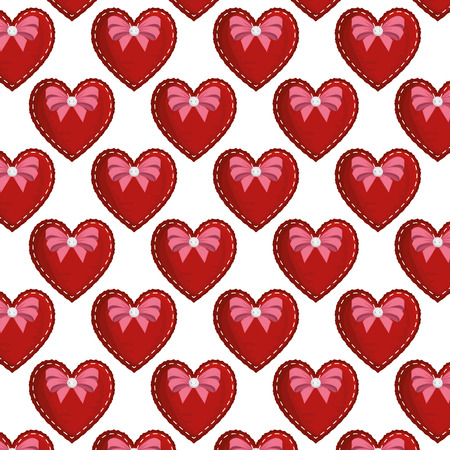 hearts love with bows pattern background vector illustration design Vectores