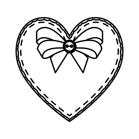 heart love with bow valentines card vector illustration design
