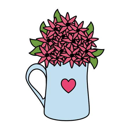 coffee cup with heart and roses flowers vector illustration design