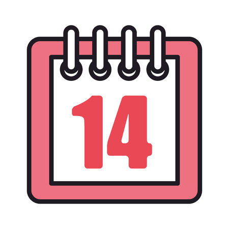 calendar with 14 valentines day vector illustration design Stock Illustratie