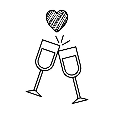 wine cups with heart vector illustration design Illustration