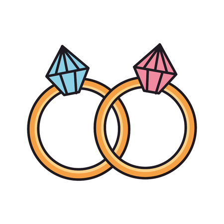 rings with diamonds icons vector illustration design