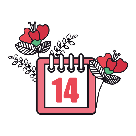 calendar with 14 valentines day and flowers vector illustration design Illustration