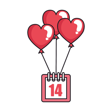 calendar with 14 valentines day and balloons helium vector illustration design Illustration