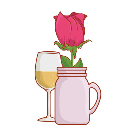 wine cups with rose in jar vector illustration design Stock Vector - 126173384