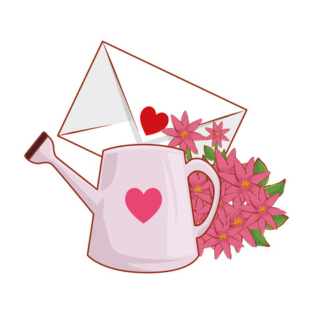 envelope with heart and flowers vector illustration design  イラスト・ベクター素材