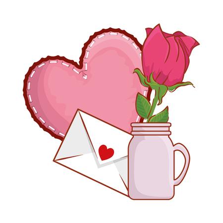 Kaffeetasse mit Herz und Rose Vector Illustration Design Vektorgrafik