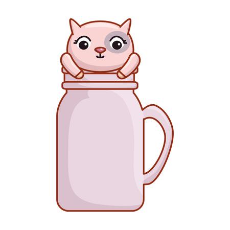 mason jar glass with cute cat vector illustration design