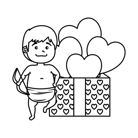 cupid with gift box present and hearts vector illustration design