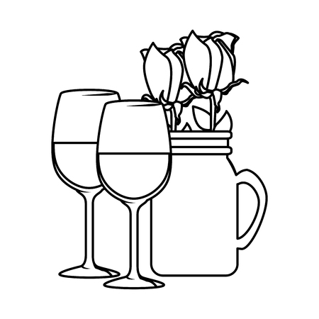 wine cups with rose in jar vector illustration design