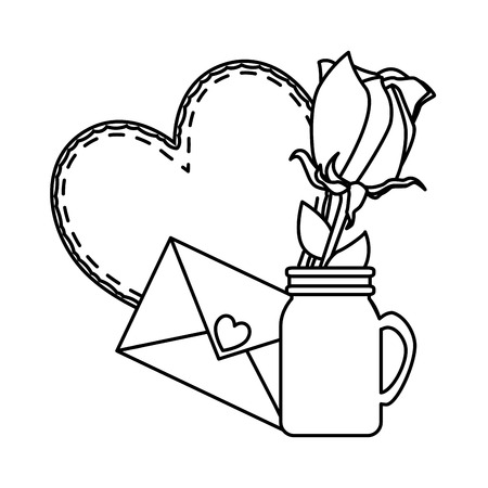 envelope with heart and rose vector illustration design Stock Illustratie