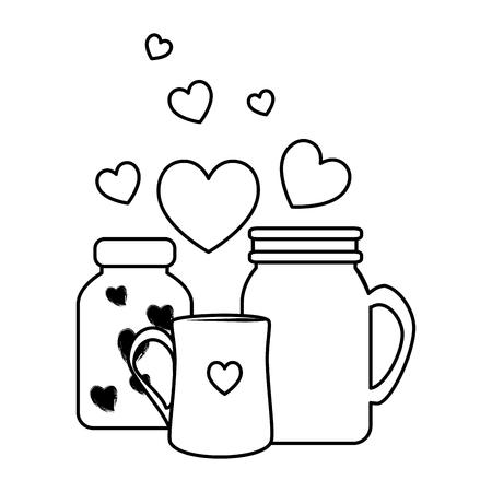 mason jars glass with love hearts vector illustration design