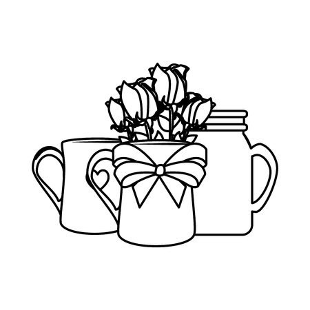 coffee cup with heart and rose vector illustration design
