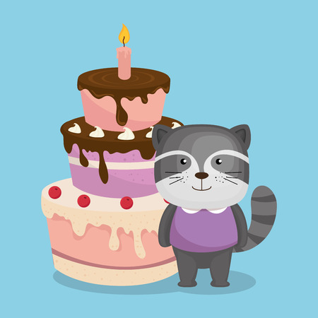 cute and little raccoon with cake vector illustration design Illustration