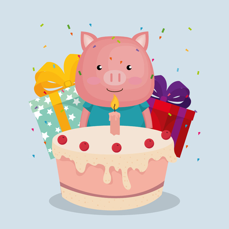 cute and little pig with gifts and cake vector illustration design Illustration