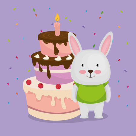 cute and little bunny with cake vector illustration design