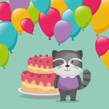 cute and little raccoon with balloons and cake illustration design Illustration
