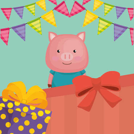 cute and little pig with gifts vector illustration design Illustration