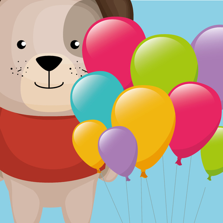cute and little dog with balloons helium vector illustration design