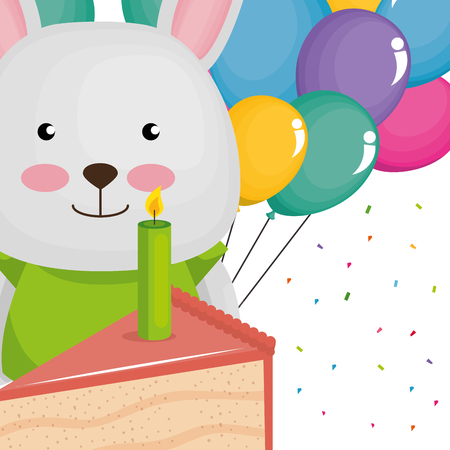 cute and little bunny with balloons and cake vector illustration design