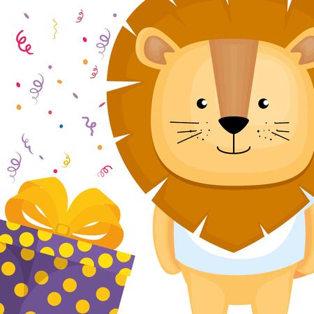 Lindo y pequeño león con diseño de ilustración de vector de regalo