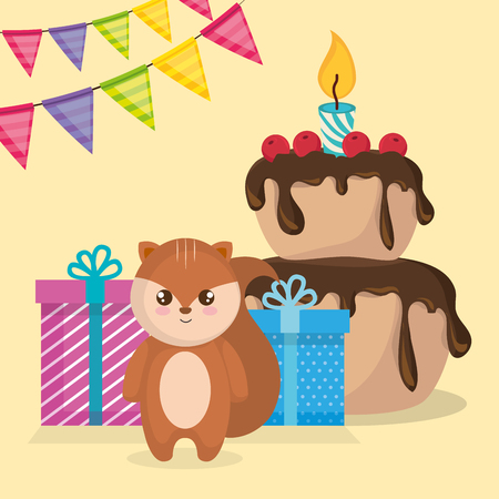 cute and little chipmunk with cake and gift vector illustration design